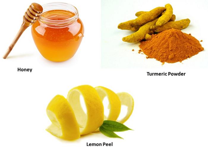 Mật ong, bột nghệ và chanh